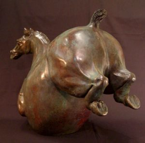 "SOLD OUT ""Laughing Horse,"" by Nicola Prinsen Bronze - 18"" high x 24 1/2"" long Edition of 9 $5,500"