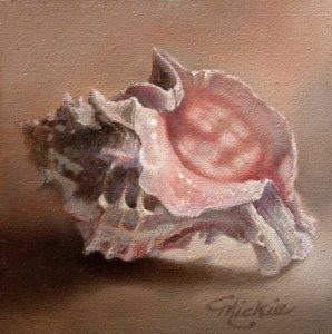 "SOLD ""Inception"" by Mickie Acierno 6 x 6 - oil $300 (thick canvas wrap without frame)"