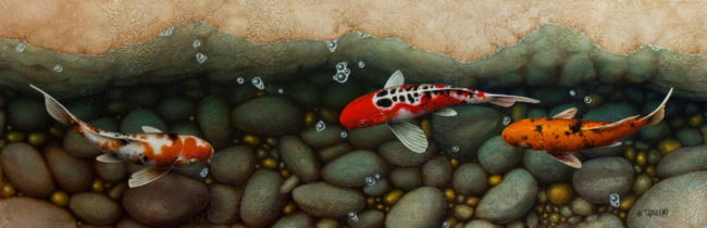 """SOLD """"Inside Passage"""" 16 x 48 - acrylic $5600 with custom show frame $5070 thick canvas wrap without frame"""