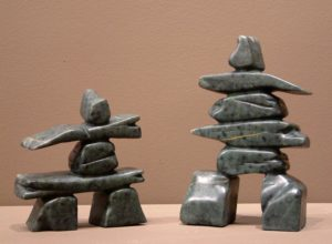 Inukshuks by Cliff Mason Brazilian soapstone SOLD – left – 5 1/4 height – $100 SOLD – right – 7 1/4 height – $140
