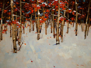 "SOLD ""The Joy of Winter,"" by Min Ma 12 x 16 – acrylic $1140 Unframed"