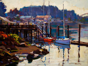 "SOLD ""La Conner,"" by Min Ma 12 x 16 – acrylic $1255 Framed"
