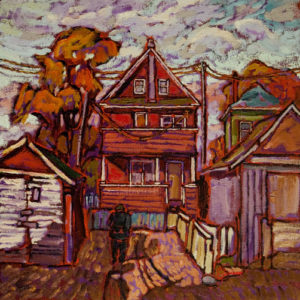"""SOLD """"Leaves Falling in East Vancouver"""" 12 x 12 - oil $750 with custom show frame $735 standard frame"""