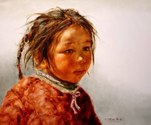 "SOLD ""Lhasa Girl #1"" by Donna Zhang 20 x 24 - oil $3800 Framed ($3850 with custom show frame)"