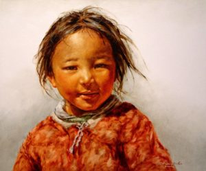 "SOLD ""Lhasa Girl #2"" by Donna Zhang 20 x 24 - oil $3800 Framed ($3850 with custom show frame)"