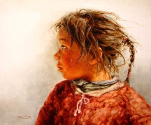 "SOLD ""Lhasa Girl #3"" by Donna Zhang 20 x 24 - oil $3800 Framed ($3850 with custom show frame)"