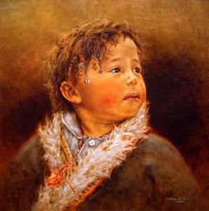 "SOLD ""Listening to Mum"" by Donna Zhang 24 x 24 - oil $4220 Framed ($4750 with custom show frame)"