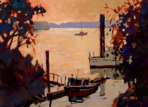 "SOLD ""Little Ferry,"" by Min Ma 5 x 7 - acrylic $420 Framed"