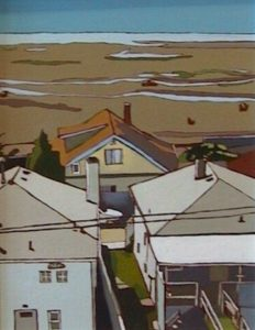 """SOLD """"White Rock"""" by Lois Stewart 11 x 14 – acrylic $375 Framed"""