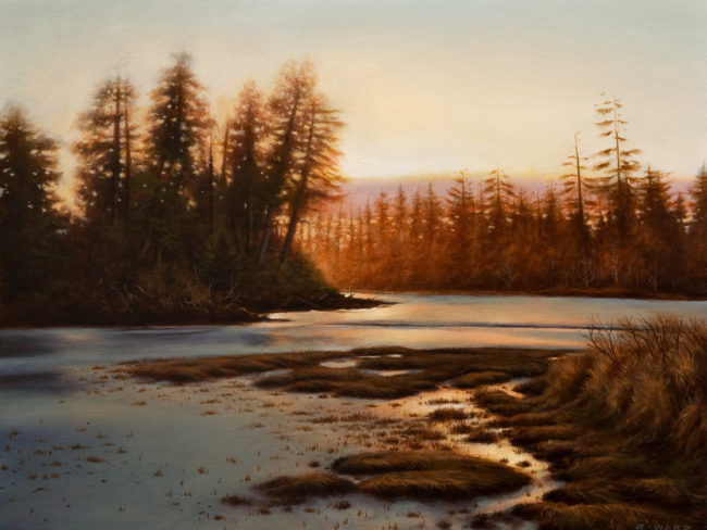 "SOLD ""Low Tide at Dusk,"" by Ray Ward 12 x 16 - oil $1170 Unframed $1400 Custom framed"