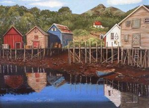 """SOLD """"Maritime Village"""" by Helen Downing-Hunter 18 x 24 – acrylic $2035 Framed"""