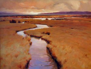 "SOLD ""Marsh Land, Boundary Bay,"" by Min Ma 36 x 48 – acrylic $6650 Framed"