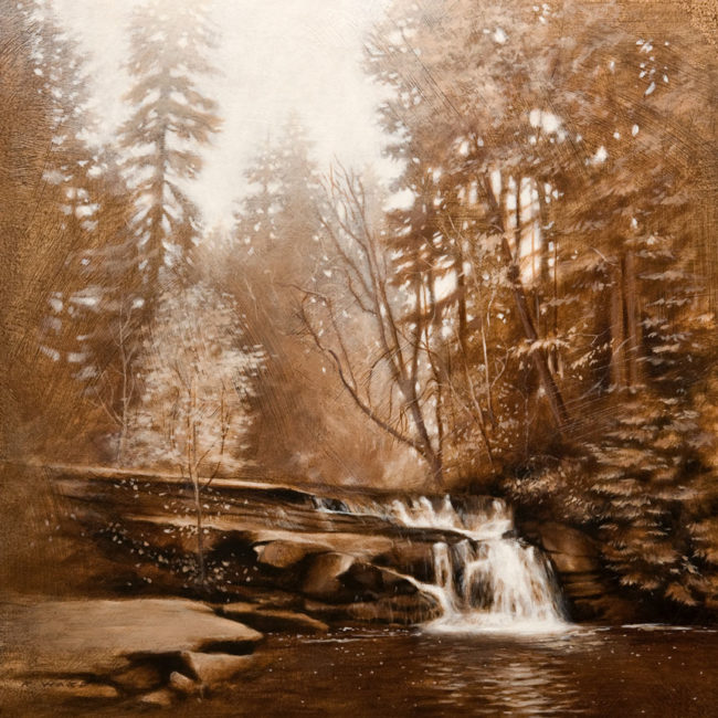 "SOLD ""Millstone Waterfall (Tonal Study),"" by Ray Ward 12 x 12 - oil $980 Unframed $1440 Custom framed"