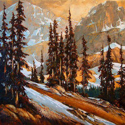 "SOLD ""More Alpine at the Wrong Time"" 36 x 36 - acrylic $2630 (thick canvas wrap without frame)"