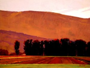 "SOLD ""Morning Field,"" by Min Ma 9 x 12 – acrylic $755 Framed"