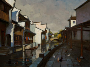"SOLD ""Morning in Town,"" by Min Ma 9 x 12 – acrylic $740 Unframed"