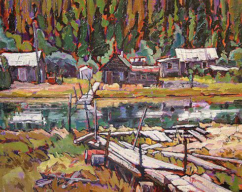 "SOLD ""The Natasaheenie River"" 11 x 14 - oil $625 Framed"