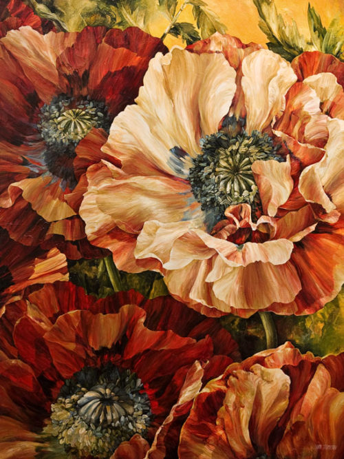 "SOLD ""Nature's Abundance,"" by Linda Thompson 36 x 48 - acrylic $4590 Unframed"