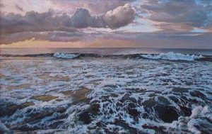"""SOLD """"Northern Sunset"""" by Paul Grignon 14 x 22 – acrylic $1990 Framed"""
