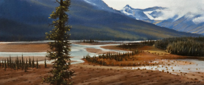 "SOLD ""North Saskatchewan Crossing,"" by Ray Ward 5 x 12 - oil $620 Unframed $785 Custom framed"