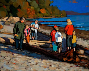 "SOLD ""On the Beach,"" by Min Ma 8 x 10 – acrylic $580 Unframed"