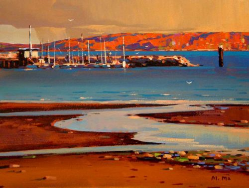 "SOLD ""Pier Afternoon,"" by Min Ma 9 x 12 - acrylic $755 Framed"
