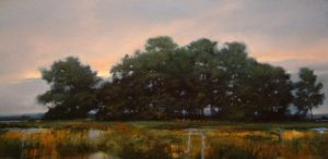 "SOLD ""Point Crossing"" by Renato Muccillo 18 x 36 - oil $3130 Framed ($3265 with custom show frame)"