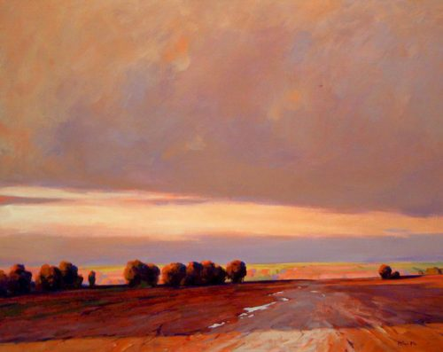 "SOLD ""Prairie Sunset,"" by Min Ma 24 x 30 - acrylic $3785 Framed"