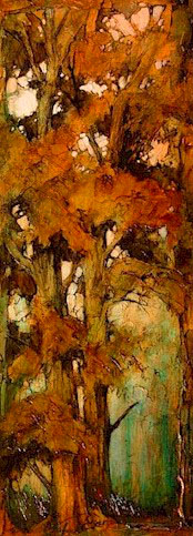 """SOLD """"Probably a Couple of Poplars"""" 9 x 24 - acrylic $975 Framed"""