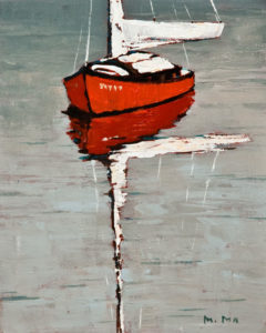 "SOLD ""Red Boat,"" by Min Ma 8 x 10 – acrylic $580 Unframed"