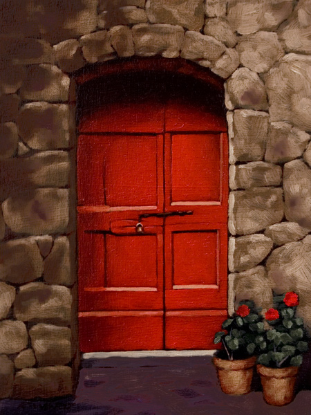 "SOLD ""Red Door Tuscany"" 6 x 8 - oil $560 Framed $600 Custom framed"
