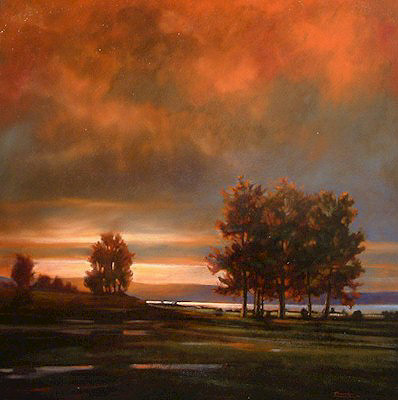 "SOLD ""Red Sky"" 36 x 36 - oil $3460 Framed"