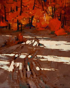 "SOLD ""The Road and Shadows,"" by Min Ma 8 x 10 – acrylic $580 Unframed"
