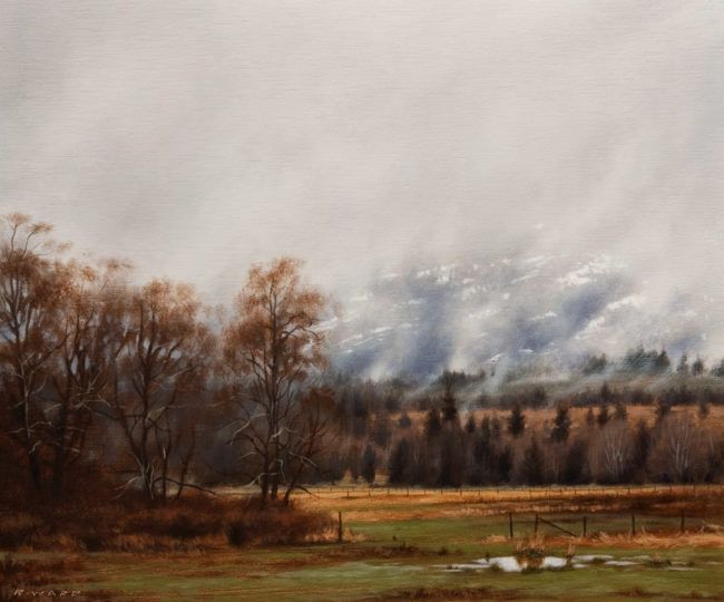 "SOLD ""Rolling Mist in the Foothills,"" by Ray Ward 10 x 12 - oil $880 Unframed $1065 Custom framed"