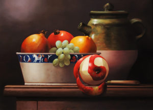"""SOLD """"Green Teapot with Bowl of Fruit"""" by Victor Santos 12 x 16 – oil $1470 Framed"""