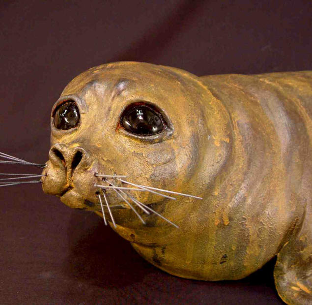 "SOLD ""Seal Pup"" Original Fired Clay - 21"" long $350"