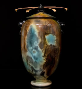 """SOLD Urn by Geoff Searle Pit-fired pottery – 17"""" high $1200"""
