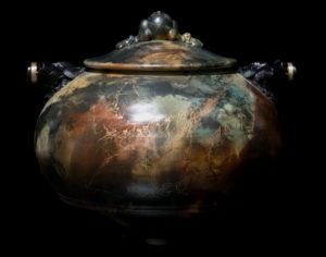 """SOLD Vase by Geoff Searle Pit-fired pottery – 10"""" high x 12"""" diameter $1200"""