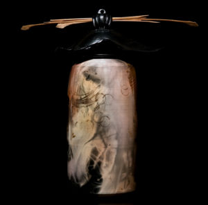 """SOLD Vase by Geoff Searle by Geoff Searle Pit-fired pottery – 9 1/2"""" (H) $345"""