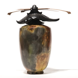 """SOLD Vase (162) by Geoff Searle pit-fired pottery – 10"""" (H) $445"""