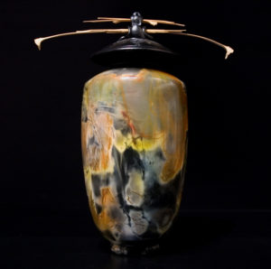 """SOLD Vase by Geoff Searle Pit-fired pottery – 15 1/2"""" high $875"""
