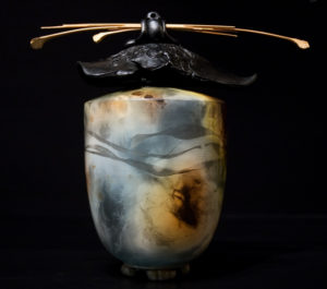 """SOLD Vase Pit-fired pottery – 10"""" high $450"""