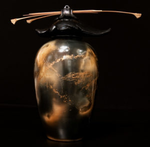 """SOLD Vase by Geoff Searle Pit-fired pottery – 10 1/2"""" high $465"""