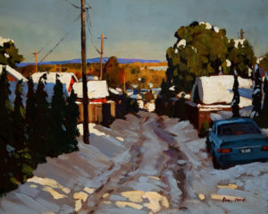 "SOLD ""Second Snow,"" by Min Ma 8 x 10 – acrylic $560 Framed"