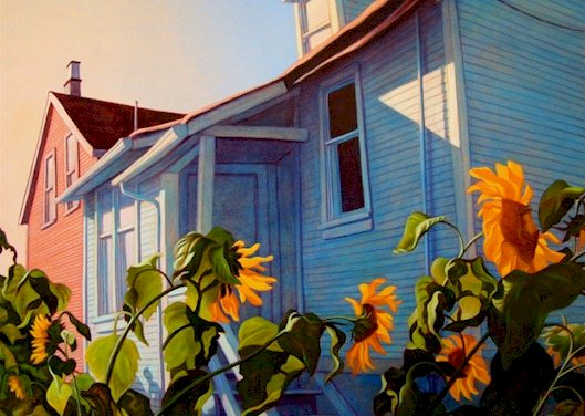 "SOLD ""September Sunflowers, Vancouver"" 48 x 60 - oil $4550 (canvas wrap without frame)"