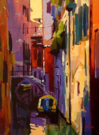 "SOLD ""Shadow and Light Venice),"" by Mike Svob 12 x 16 - acrylic $1115 Framed"