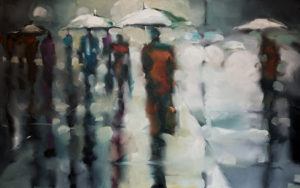 """SOLD """"Sidewalk Kaleidoscope""""  by Harold Braul 30 x 48 – oil $2780 (thick canvas wrap without frame)"""