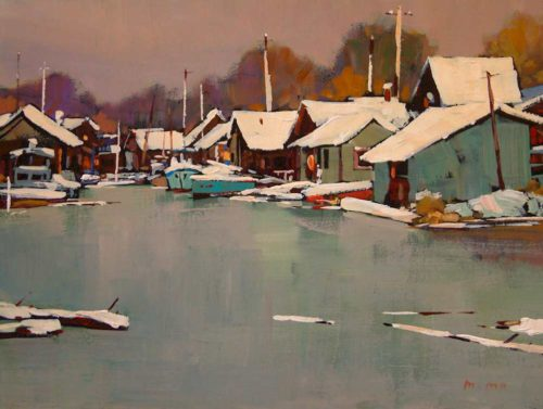 "SOLD ""Snowy Village,"" by Min Ma 9 x 12 - acrylic $755 Framed"