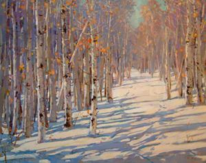"SOLD ""Soft Winter Day,"" by Min Ma 24 x 30 – acrylic $3785 Framed"