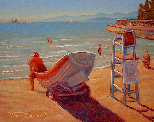 "SOLD ""Stanley Park Lifeguard"" 8 x 10 - oil $525 Framed"